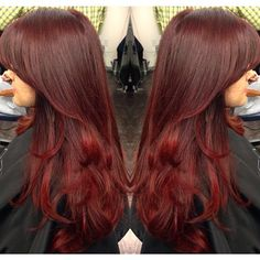 #ShareIG did a dark ruby red base w/ hot red ends. Haircut & blowdry style. #ombre #balayage #colorblend #blend #beauty #blowdry #fallhair #richtones #hair #hairstylist #haircut #redhead #colorist #rubyredy #newhair