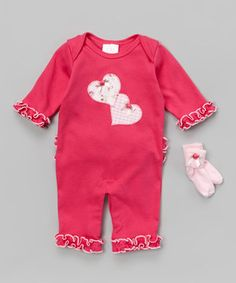 Loving this Berry Heart Ruffle Playsuit & Socks - Infant on #zulily! #zulilyfinds