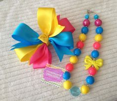 Turquoise, Yellow, & Hot Pink Toddler Bubblegum Chunky Necklace with matching Whirly Bow READY TO SHIP on Etsy, $18.00