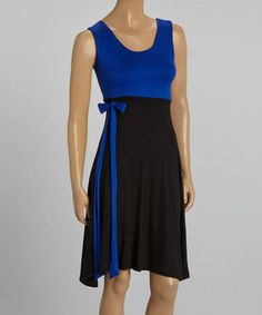 Loving this Black & Blue Tie-Waist Sleeveless Dress on #zulily! #zulilyfinds