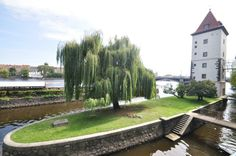 Jesuit island in Prague with the water tower supplying water fountains in Lesser Town