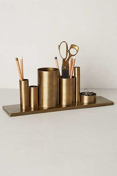 Designer objects: stationary brass, gold, copper, Codify Pencil Holder