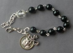 Saint Anthony of Padua - 8mm Black Agate Gemstone One Decade Rosary Bracelet by JaysReligiousGifts on Etsy