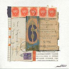"""Unaccompanied ... """"words only"""" appearing in this collage inspired its name. Mixed-media abstract collage with found brass number 6 stencil and old papers. 8"""" x 8"""""""