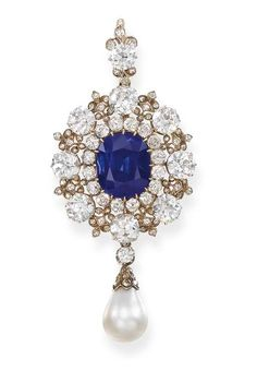 AN IMPORTANT ANTIQUE SAPPHIRE, DIAMOND AND PEARL PENDANT/BROOCH