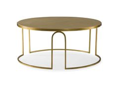 A Transitional Round Coffee Table, Featuring A Cream Faux Vellum Top And An Art  Deco