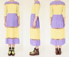 Tata-Naka / Pastel yellow, and lilac, with negative space detail / not with those shoes!