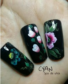 One stroke nail art black nails flowers