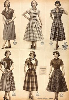Snapped Garters: 1952 Fashions From Sears! 50s Dresses, Women's Fashion Dresses, 1950s Fashion, Vintage Fashion, Fancy Skirts, 1950s Outfits, Look Retro, Fashion History, Fashion Models