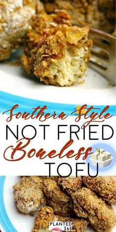 Southern Style Not Fried Boneless Tofu aka Vegan Fried Chicken. It's not fried a… Southern Style Not Fried Boneless Tofu aka Vegan Fried Chicken. It's not fried and it's not chicken, but it's vegan and delicious! Easy to make and uses common ingredients. Tofu Recipes, Good Healthy Recipes, Whole Food Recipes, Game Recipes, Healthy Food, Healthy Meals, Vegan Gluten Free, Vegan Vegetarian, Vegetarian Recipes