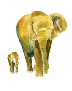 MOM ELEPHANT with her GUY print from my original watercolor painting. Size: Materials: Print on Archival matte Epson Paper All my prints will be send with a rigid support. Signed and dated by the artist. You can find my original watercolor paintings here: Mom And Baby Elephant, Elephant Love, Elephant Art, Elephant Watercolor, Art Wall Kids, Nursery Wall Art, Nursery Decor, Baby Animals, Cute Animals