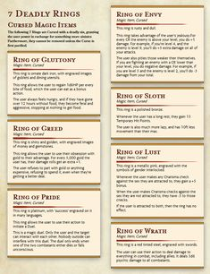 While I'm still finishing all of the archetypes, I thought I might as well throw something extra I had on here. So here's some Cursed rings. The 7 Deadly Rings because I'm funny Note to other DMs: If you use these, be careful of that Pride Ring,. Dungeons And Dragons 5e, Dungeons And Dragons Characters, Dungeons And Dragons Homebrew, Dnd Characters, Dnd Stats, Tenacious D, Dnd Stories, Pen & Paper, Dungeon Master's Guide