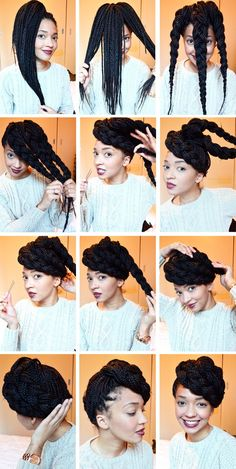 Super fun updo style with box braids! Super fun updo style with box braids! Super fun updo style with box braids! Super fun updo style with box braids! Source by Hairstyleblackwomen No Heat Hairstyles, Protective Hairstyles, Cute Hairstyles, Braided Hairstyles, Protective Styles, Hairstyle Braid, Black Hairstyles, Hairstyle Ideas, Summer Hairstyles