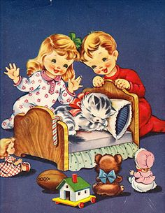Vintage Illustrations This is just tooo cute ! Images Noêl Vintages, Images Vintage, Photo Vintage, Vintage Christmas Images, Vintage Holiday, Vintage Pictures, Retro Kids, Christmas Graphics, Christmas Cats