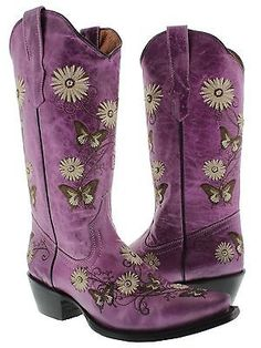 Womens Purple 2 Butterfly Flowers Leather Western Cowboy Boots Rodeo Cowgirl New