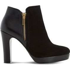Dune Oscar leather and suede heeled ankle boots ($74) ❤ liked on Polyvore featuring shoes, boots, ankle booties, ankle boots, booties, heels, short heel boots, heeled booties, high heel bootie and platform booties