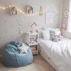 """205 Likes, 9 Comments - Jen (@whitefoxstyling) on Instagram: """"Little girls room inspo. Loving the velvet beanbag from @milktoothau! #whitefoxstyling"""""""