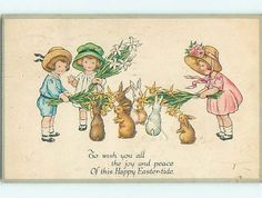 Easter  Boy and Girls holding bouquet of by sharonfostervintage, $4.00