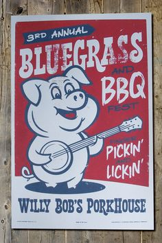 Willy Bob's Porkhouse BBQ and Bluegrass Retro by FarmhandDesign, $20.00