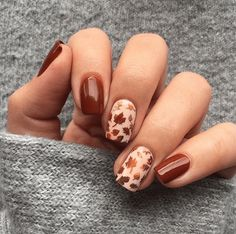 Fall Gel Nails, Cute Nails For Fall, Fall Acrylic Nails, Nails For Autumn, Fall Manicure, Nail Ideas For Fall, Nail Colors For Fall, Ideas For Short Nails, Fall Nail Art Autumn