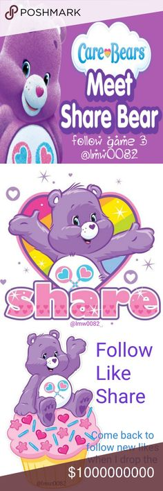Meet Share Bear Follow Game 3! New 8/5 Share Bear Follow Game  MEET SHARE BEAR, OF CARE A LOT. SHE LOVES TO SHARE.  HELP SHARE BEAR BY LIKING, FOLLOWING, & SHARING THIS GAME. TAG YOUR PFFS & INVITE THEM TO PLAY. EVERYONE IS WELCOME IN SHARE BEAR'S DOMAIN. ALSO FEEL FREE TO POST ON SHARE BEAR'S 20 FOR 20 CLOSET SHARE LISTING! Don't forget to comment so Share Bear will know where to return your shares. Love, blessings, & poshperity to all! Loren and Share Bear Miss Me Jeans Flare & Wide Leg