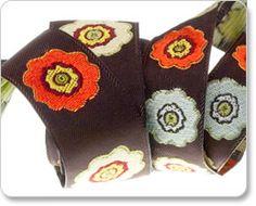 Orange and Brown Primrose Flower Ribbon - Laura Foster Nicholson