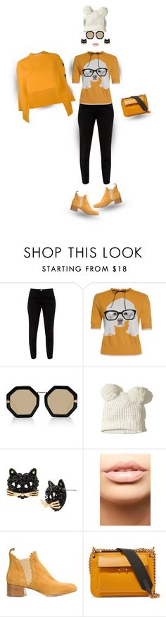 """""""Mustard Yellow...""""Meet Frenchie""""!"""" by onesweetthing ❤ liked on Polyvore featuring Ted Baker, Karen Walker, Hollister Co., Betsey Johnson, MDMflow, Chloé and Marni"""