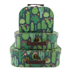 Set of 3 Colorful Cactus Suitcases
