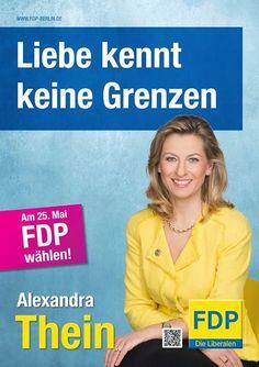 Manipulierte QR-Codes - FDP-Landesvorsitzende Alexandra Thein wirbt mit unglücklichem Slogan. Das Scannen ihrer Wahlplakate führte zu Gruppensex.