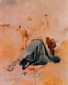 Virgen-pájaro con dos ángeles - Salvador Dalí -  1943. Acuarela. 62.2 x 47 cm. The Salvador Dalí Museum. San Petersburgo. Florida. USA.