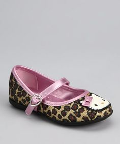 Take a look at this Brown & Pink Leopard Hello Kitty Lola Mary Jane by Hello Kitty on #zulily today!