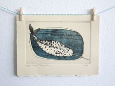 Narwhal Dry Point Etching Print  Little Sea Unicorn by michele maule