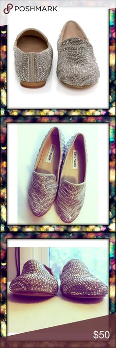 Concord Pewter Multi Steven Madden loafers Like new! The Concord will get you noticed in a flash! Steven Madden Showcases a crystal embellished loafer in a two toned pewter pattern. This eye catching flat will attract any admirer and dress up any everyday occasion. Textile upper. Leather sole Steve Madden Shoes Flats & Loafers
