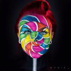 Halloween-Make-up-Lollipop makeup idea for - The Face, Face Off, Sfx Makeup, Costume Makeup, Makeup Geek, Mykie Glam And Gore, See Tattoo, Fantasy Make Up, Maquillaje Halloween