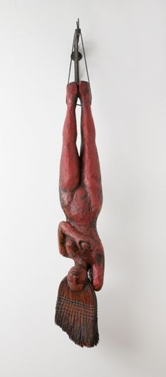 """Alison Saar    """"Sweeping Beauty""""    Carved and painted wood, copper sheeting, broom with cotton thread, and leather thong, with brass hanging bracket    1997"""