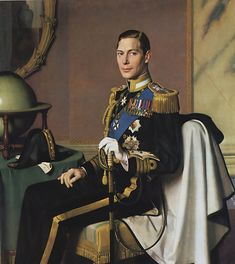 The Reluctant King.  Prince Albert Frederick Arthur George (1895--1952), 2nd son of King George V of England and the one his father wanted to succeed him.  That wish came true when Albert's older brother, King Edward VIII, abdicated, paving the way for Prince Albert to become King George VI. Painted by Meredith Frampton R.A. (1894-1984). He served in The Artists Rifles in WWI.