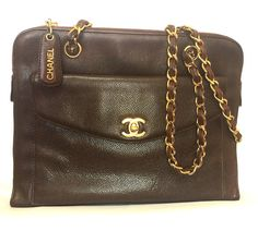 Vintage CHANEL dark brown caviarskin chain shoulder tote bag