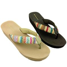 Ladies Dunlop Low Wedge Fashion Multi Colour  Flip Flop.  Available in Beige or Brown.  £9.99