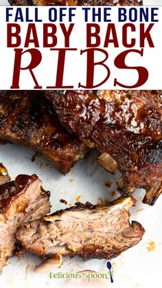 """These Fall Off The Bone Baby Back Ribs are the best ever! Marinated for 8 hours in a to die for the dry rub and then slow-roasted in the oven on low for 3-4 hours. Finished off on the BBQ where they are smothered in barbecue sauce. So tender these ribs literally melt in your mouth on the first bite. This was originally published in May 2018 and has been updated to include new photos, """"how-to"""" instructions and more. 