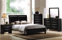 Shop for Blemerey Black Bonded Leather and Wood Bedroom Set, Includes Queen Bed, Dresser Mirror, Nightstand with Chest. Get free delivery On EVERYTHING* Overstock - Your Online Furniture Shop! Get in rewards with Club O! Platform Bedroom Sets, Bedroom Set, Furniture, Bedroom Interior, Contemporary Bedroom, Furniture Sets, Wood Bedroom Sets, Modern Bedroom, Master Bedroom Set