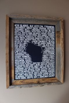 Who doesnt love a good beer? This 11 x 14 dark blue Beers of Wisconsin Word Map contains a collection of all your favorites from around the