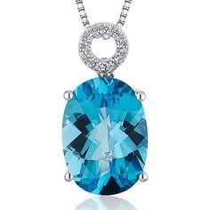 Oval Shape 6 Carat Swiss Blue Topaz Sterling Silver Necklace Giveaway from SilverJewelryClub.com