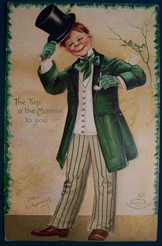 Shop Vintage Redhead Irishman With Top Hat Postcard created by NorthernPrint. St Patricks Day Cards, St Patricks Day Quotes, Happy St Patricks Day, Saint Patricks, Vintage Cards, Vintage Postcards, Vintage Images, Irish Boys, Irish Men