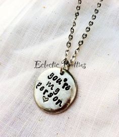 You're my person Hand Stamped Grey's Anatomy Best Friend Pewter Pebble Necklace, $24.00