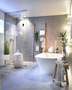 Modern bathroom with concrete look, walk-in shower, free-standing bathtub and plants.Modern bathroom with concrete look, walk-in shower, free-standing bathtub and plants. Bad Inspiration, Bathroom Inspiration, Bathroom Ideas, Bathroom Organization, Bathroom Small, Colorful Bathroom, Cozy Bathroom, Attic Bathroom, Bathroom Trends
