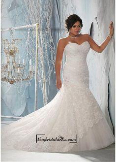 Alluring Lace & Satin Sweetheart Neckline Natural Waistline Mermaid Plus Size Wedding Dress