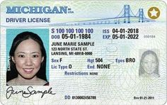 MICHIGAN (WPBN/WGTU)-- Starting Monday, the state of Michigan will begin to issue new and different driver's licenses.A federal law is requiring everyone that wants to fly domestically to switch over to what's called a REAL ID.The REAL ID has been in the Id Card Template, Card Templates, Certificate Templates, Templates Free, Print Templates, Driver License Online, Driver's License, Drivers License California, Drivers License Pictures
