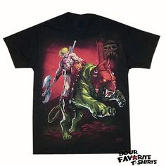 Masters Of The Universe He-Man Battle Cat Adult Shirt