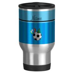 Personalized name birthday soccer sky blue stripes coffee mug