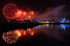 Fireworks burst over Olympic Park at the conclusion of the Winter Olympics.